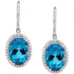 Genuine Blue Topaz and Diamonds Earrings