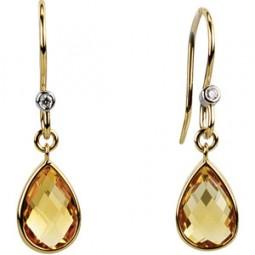 Genuine Citrine and Diamond Earrings