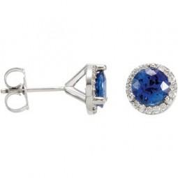 Genuine Sapphire and Diamond Earrings